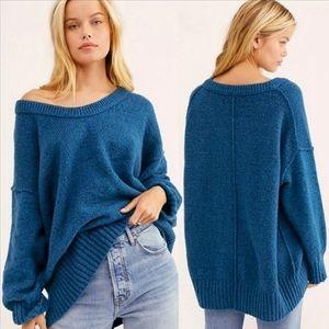 Free People Brookside Tunic Sweater Halcyon Blue